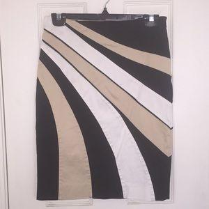WHBM White, Black, and Tan Pencil Skirt